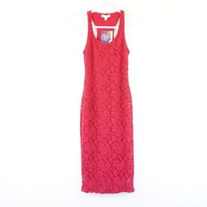NWT Love Fire Fuscia Lace Pencil Midi Dress